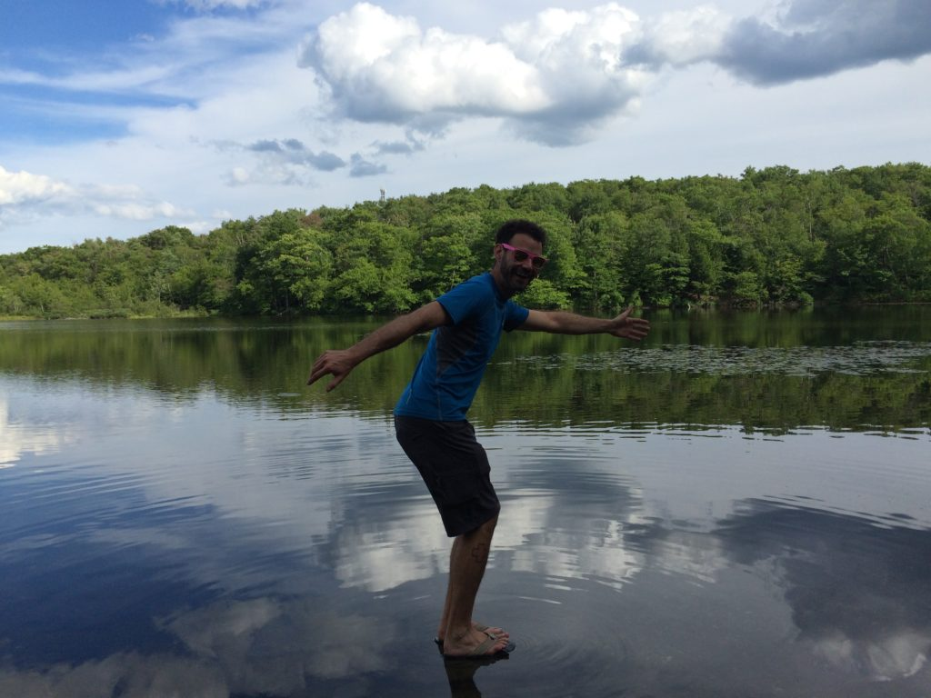 Walking on water, Berry Pond.