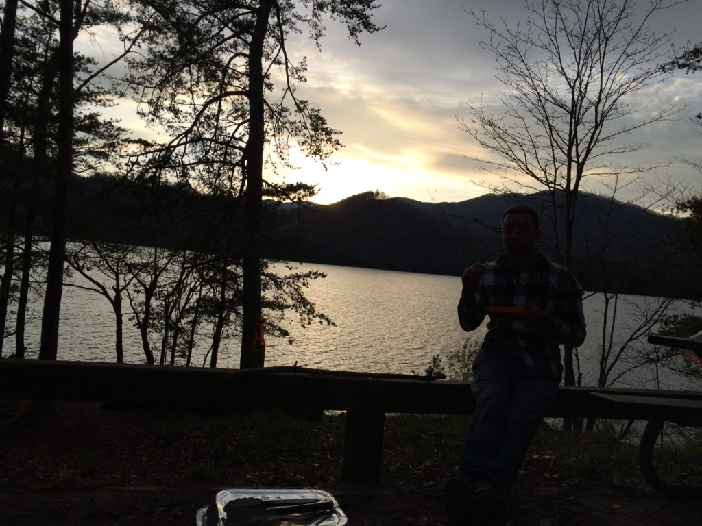 Sunset dinner. Santeetlah Lake, North Carolina.